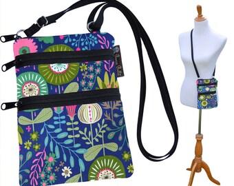 Crossbody Purse - 3 Zippered Pockets Bag - Small Cross body zippered pocket Purse Bag -Washable - Small Cell Phone Purse Botany Fabric