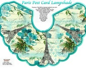 Vintage Paris Post Card Collage Lampshade for Electric Candle Lamp with Directions Digital Printable INSTANT DOWNLOAD