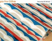 Japanese Fabric - Waves canvas - red, blue, white - fat quarter