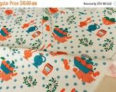Japanese Fabric 100% linen - vintage retro kitchen -  50cm
