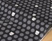 Japanese Fabric Kokka Ellen Baker - parallels flannel - cat - black - 50cm