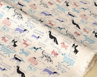 Japanese Fabric Kokka Trefle Dogs - blue, mauve - 50cm