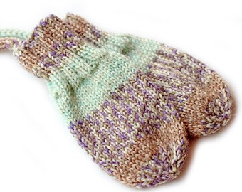 Thumbless Mittens. No Thumb Baby Mittens on a String. Corded Infant Mitts. 3 to 6 Months. Winter Hand Warmers. Camel and Mint