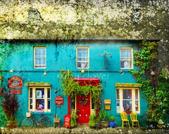 Skibbereen, IRELAND, Co. CORK, Colorful House, McCarthy, Irish Photo Card, Southwest, Irish Coast, Cute Shop Front, Red Door,Aqua,Irish Shop