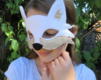 Arctic Fox Mask - Fox Mask - Arctic Wolf - Fox Costume - Woodland Animal - White Fox