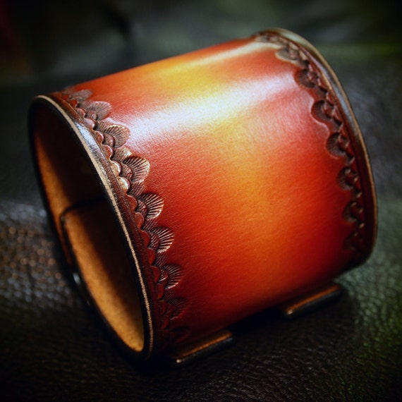 Leather cuff Bracelet Red watchband Vintage Johnny Depp style wristband Handmade for YOU in NYC by Freddie Matara