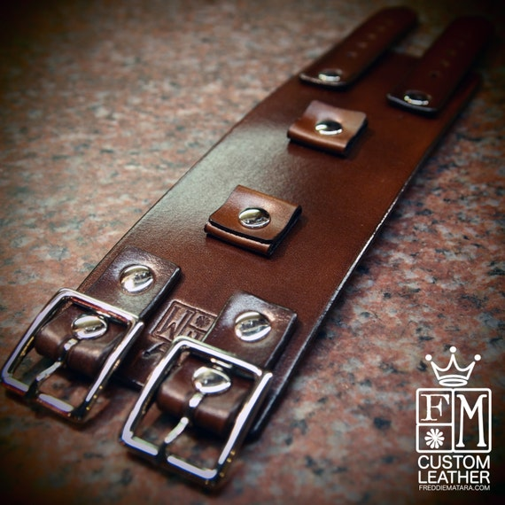 Leather cuff Bracelet Brown watchband Vintage Johnny Depp style wristband Handmade for YOU in NYC by Freddie Matara