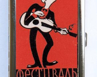 Russian Guitar Player Cigarette Case Wallet Business Card Holder