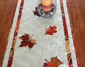 Fall Leaves Quilted Table Runner - 17.5 inches x 47.75 inches - Thanksgiving, Fall, Autumn, Quiltsy Handmade