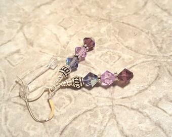 PRETTY PURPLE Tricolor Swarovski crystal sterling silver french hook earrings