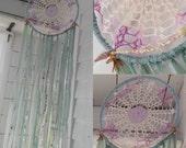 Sea Foam Boho Doily Dreamcatcher Yantra  4 Feet Loaded w/Gemstones, hippie, Beach House,  Bohemian, Boho Wall Hanging, Doily Dream Catcher