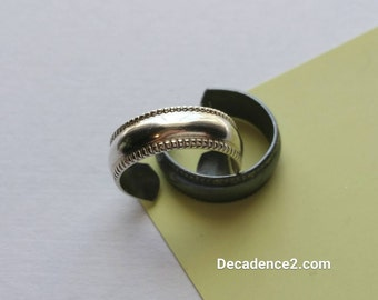 Wide Embossed Sterling Silver Toe Ring in Polished Sterling or Oxidized Sterling