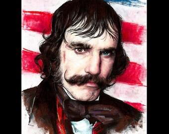 "Print 8x10"" - Bill The Butcher - Gangs Of New York Daniel Day-Lewis Mustache Dark Art Pop Art Knife Victorian Leonardo DiCaprio Antique"