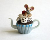 SALE - Handmade Miniature Mouse in a Cupcake Teapot by C. Rohal