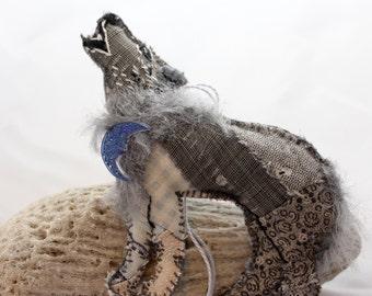 Grey Wolf Quilty Critter - OOAK, Novely, Folk Art, Ornament