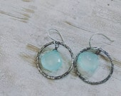 40% OFF CLEARANCE HAMMERED  - Aqua Chalcedony with Fine Fused Silver Hoops - Argentium Handcrafted Earwires - simple elegant modern