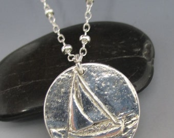 Fine Silver Sailboat Pendant Sterling Silver Necklace