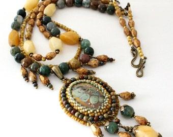Lampwork Cabochon Pendant Necklace, Triple Strand,  Peach Quartz, Agate Gemstones, Earthtones, Beaded Necklace, Beadweaving....Harvest