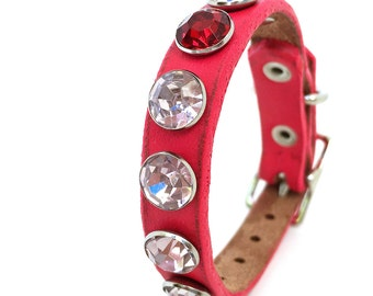 Hot Pink Leather Dog Collar with One Rogue Rhinestone, Size XXS, to fit a 6-8in Neck, EcoFriendly, OOAK