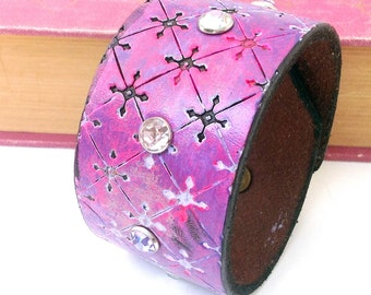 Pink and Purple Tooled Leather Cuff Bracelet with Crystals, Adjustable Size, Recycled Belt Jewelry, OOAK, Seattle Handmade, USA