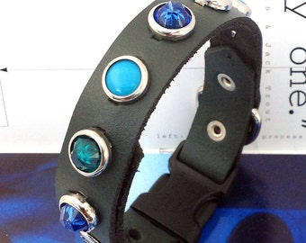 Matte Teal Leather Dog Collar with Cool Tone Studs, Quick Release Buckle, Size XS/S, to fit a 9-11in Neck, OOAK