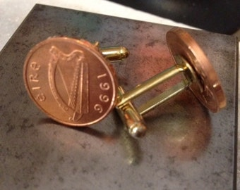 Coin Jewelry Irish penny cufflinks or earrings