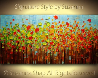 ORIGINAL Abstract Painting Birch Tree Aspen Autumn Landscape Oil Painting Palette Knife Modern Impasto Large by Susanna Made to Order