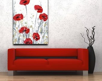 White and Red Poppy Flower Landscape Fine Art Canvas Giclee PRINT Home Decor Wall Art Impressionist Floral Contemporary Art Susanna