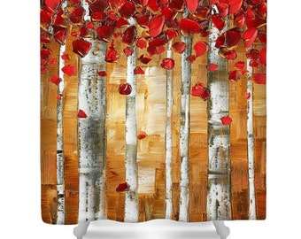 Designer Shower Curtain Art- abstract brown and red birch tree landscape, modern contemporary design, bathroom home decor from Susanna's art