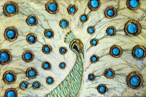 PRINT on Canvas Modern Abstract White Peacock Art Fine Art Home Decor Wall Art Large Blue Gold Cream -Susanna