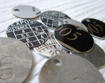 Recycled Tin Discs Charms Tokens Tags - Vintage Metal for Geeks - Outsider Art Jewelry Supply