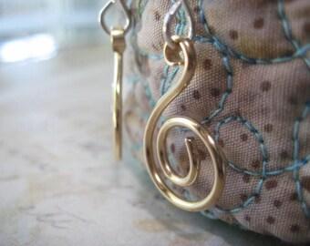 Gold Swirl Earrings, Mixed Metals, 14k Gold Fill, Sterling Silver, Gold Swirls, Handformed Swirls, Golden Petite, Womens Jewelry, candies64