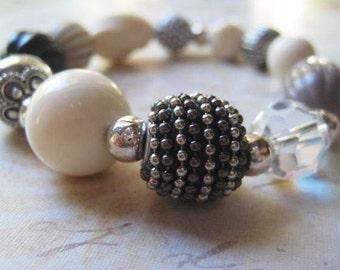 Beaded Bracelet, Vintage Beads, Sterling Silver, Bali Bead, Gray Black Off White, Striped Bead, Polka Dot Bead, Stretch Bracelet, candies64