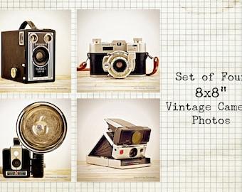 "Vintage Camera Photo Set of 4 / 8x8"" Print Set / Antique Camera Picture / Kodak / Polaroid / Vintage Industrial Decor / Retro Wall Art"