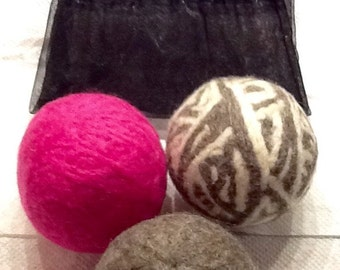 Pink & Grey WOOL Dryer Balls, set of 3 w/gift bag
