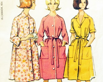 Vintage 50s 60s Robe Pattern Housecoat Size Large 38 to 40 Inch Bust McCalls 7554