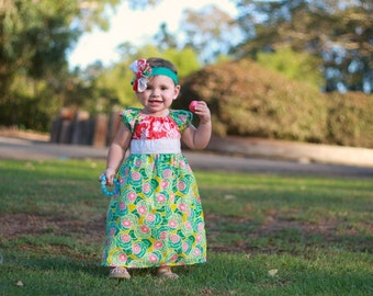 Baby clothing-Boho kids clothing-girls dress-baby dress- peasant dress- easter outfit-mint yellow dress-girls fall outfit- boho girls dress-