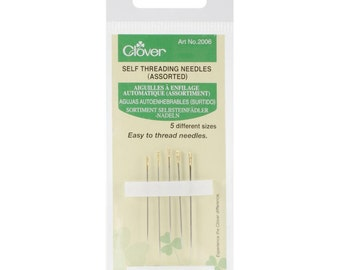 Clover NEEDLES - Self-Threading - 5 Different Sizes in on Pack