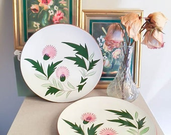 Pretty Vintage 40s 50s Set of 2 Stangl Thistle Pottery Trenton NJ Dinner Plate Jewelry Dishes