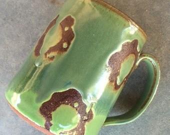 Green Mod Floral mug, coffee mug, tea cup, handmade pottery mug