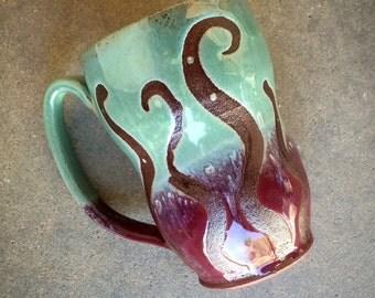 Mod curvy mug, large coffee mug, tea cup, handmade pottery mug