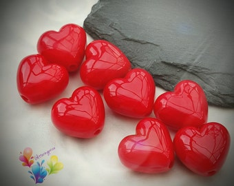 Lampwork Beads Glass Beads Cherry Red Heart Pair Small