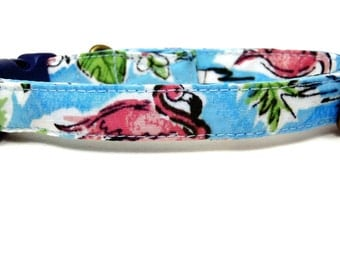 Pink Flamingo - Organic Cotton CAT Collar Blue Hibiscus Hawaiian - All Antique Brass Hardware