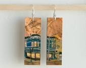 "DiviCal, Paper & Wood Earrings, .75x2.25"""