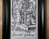 Haunted, hallway, gothic, ghost, surrealism, classic, pen and ink, black and white, illustration, Dame Darcy