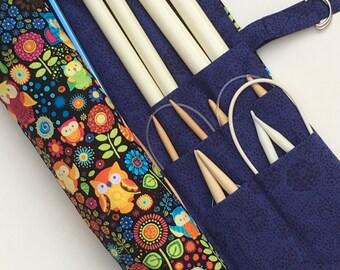 knitting needle case - knitting needle  organizer - circular  knitting needle case  - colorful floral with owls 36 pockets