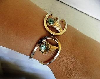 FREE SHIPPING Vintage Goldtone Rhinestone Clamper Bracelet