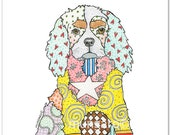 Star Brite Cavie CAVALIER King George Spaniel dog watercolor art print, hand towel, note cards, or pillow by Marley Ungaro