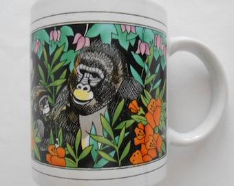 Vintage Ceramic Gorilla Mug Finest Ceramics Coffee Tea Cup with Gorillia Family Jungle Scene