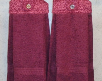 SET of 2 - Hanging Cloth Top Kitchen Hand Towels - Plum Confetti Print - PLUM Towels
